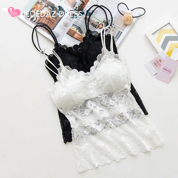 LEDEDAZ Sexy Women's Lace Tank Tops V Neck Floral Lace Camis Bralette 2019 Summer Camis Vest Strap Tops Black White Skin 50cm 2019 new sexy women s elastic strap stretch tight lady camis vest tank tops female slim sleeveless camis black white tees