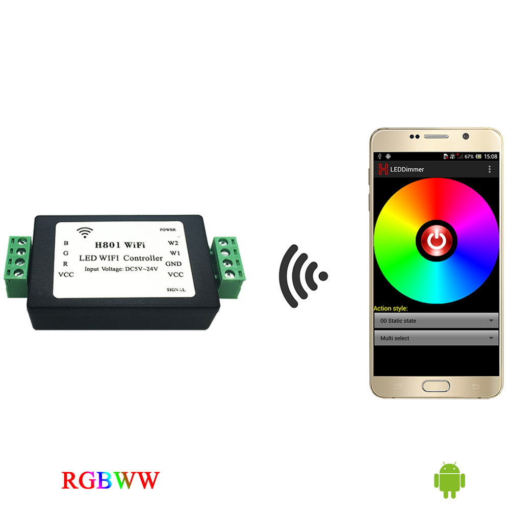 rgbww strip WiFi controller,rgb controller,communicate with Android phone via WLAN to dim,output 5 routes RGBWW data.