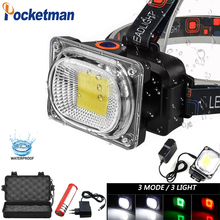 New Powerful COB LED Headlight DC Rechargeable Headlamp 3 Modes Waterproof Head Torch with 18650 Battery for Hunting Fishing 85