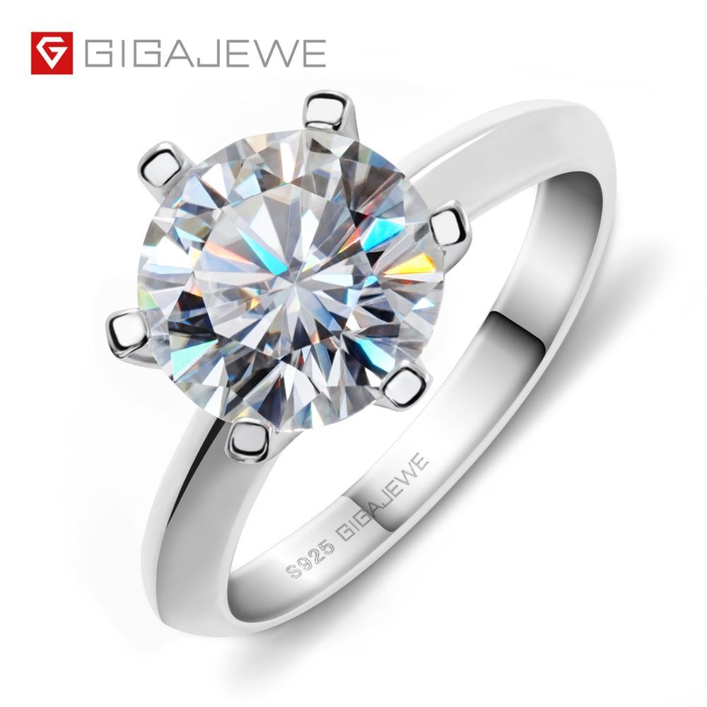 GIGAJEWE 3 0ct 9 0mm EF Round 18K White Gold Plated 925 Silver Moissanite Ring Diamond