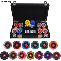 200 500PCS/LOT Round Peach Heart Coins Texas Hold'em Ceramic Poker Chip Entertainment/Party/Club Chips Leather Suitcase Set