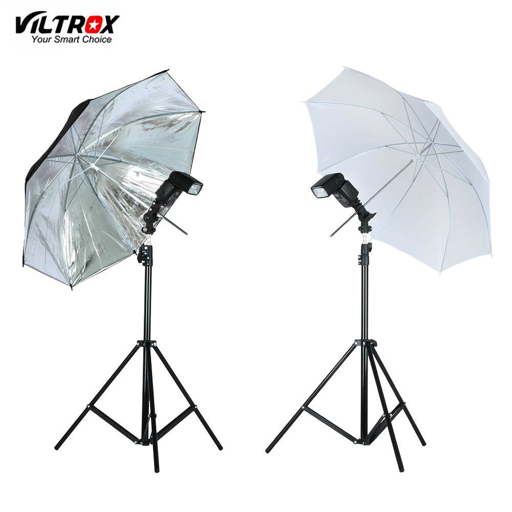 VILTROX Photo Studio Lighting Kit-2M Light Stand Tripod+Metal Flash Bracket Holder +33'' White/Black Silver Reflective Umbrella