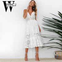 WYHHCJ 2018 Sexy Hollow Out Summer Dress Sleeveless Strap Lace Long Women Dress Bodycon Deep V