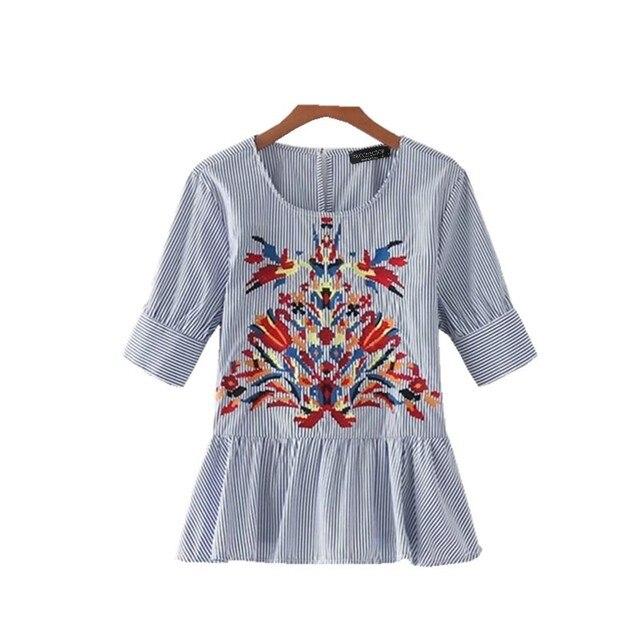 Verano Blusa Bordada Femininas Blusas Bordado Mujeres Camisa YT5xqwO