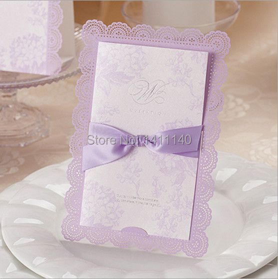 Light Purple Wedding Invitations With Damask Monogram By Shine