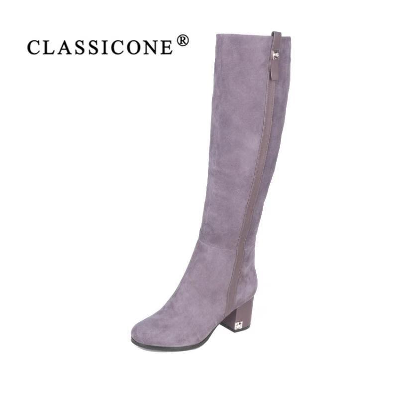 CLASSIOCNE2018 обувь женские зимние высокие сапоги из натуральной кожи теплая шерсть на высоком каблуке брендовые модные стиль дизайнеры пикантн...