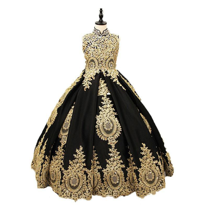 Sexy Black And Gold Lace   Flower     Girls     Dress   2019 High neck With Corset Back Crystal Ball Gown Designer First Communion Pageant
