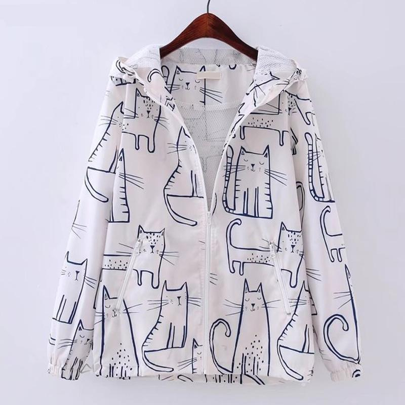 Spring Autumn Thin Jacket Coat Women Cartoon Cat Pot Harajuku Kawaii Hoodie Graffiti Baseball Jackets Coats Chaqueta Mujer Japan