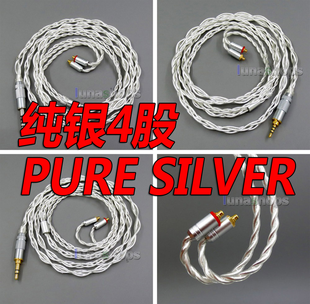 8 Cores Pure Silver Shielding Earphone Cable For MMCX Plug Shure se535 se846 se215 Earphone cable areyourshop 5pair earphone pin plug for shure ed5 se535 carbon fiber mmcx rhodium plated silver