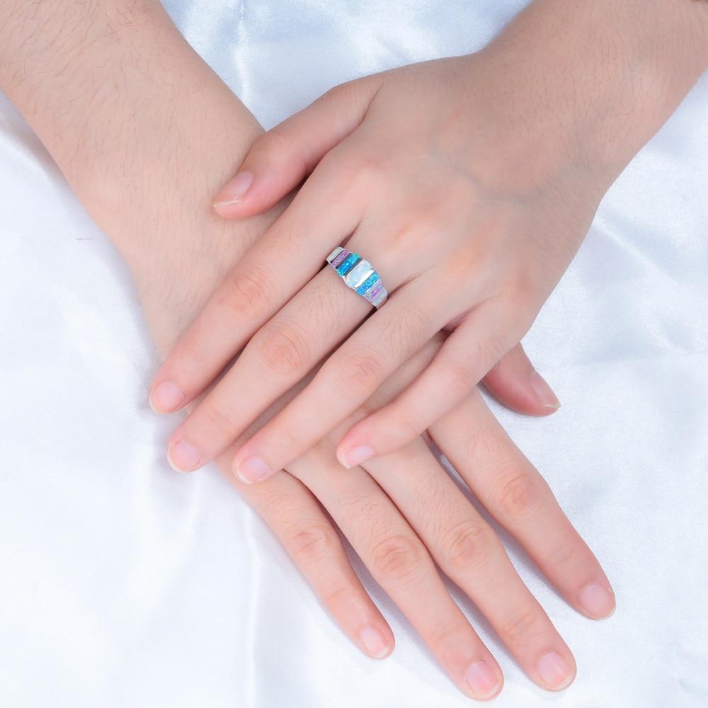 CiNily Rainbow Big Fire Opal Batu Cincin Perak Disepuh Biru Putih - Perhiasan fashion - Foto 2