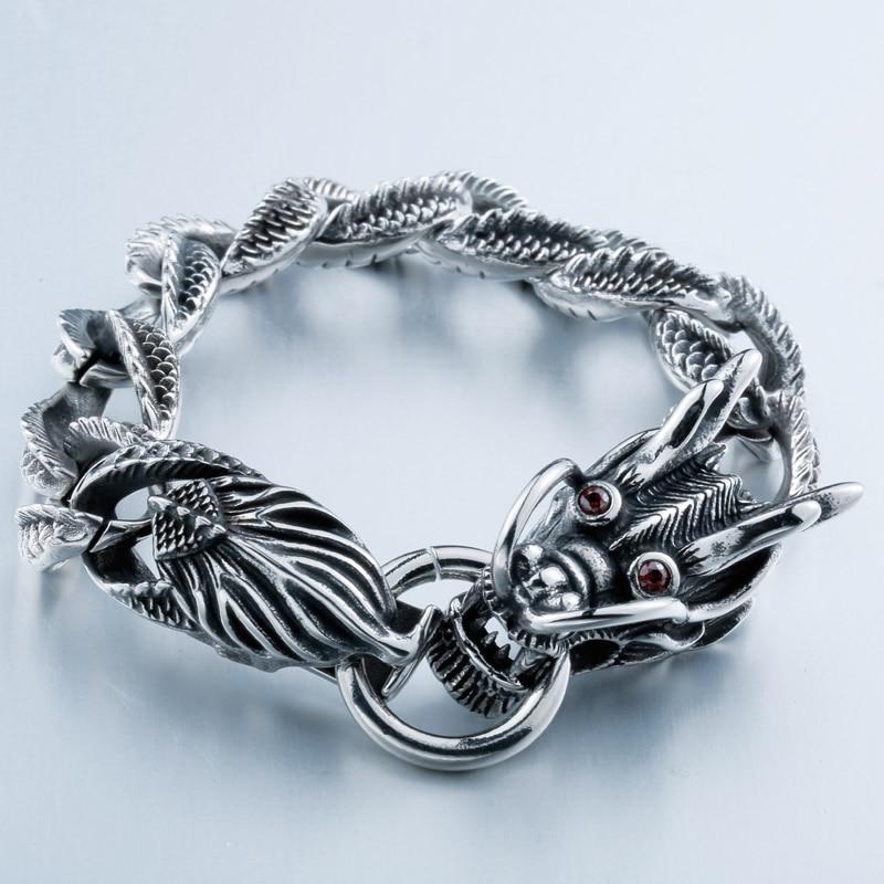 SKA Pulseras Bracelets pour hommes Punk hommes Bracelet titane acier Dragon Tension mont rouge pierre yeux personnalité bijoux BC8-019