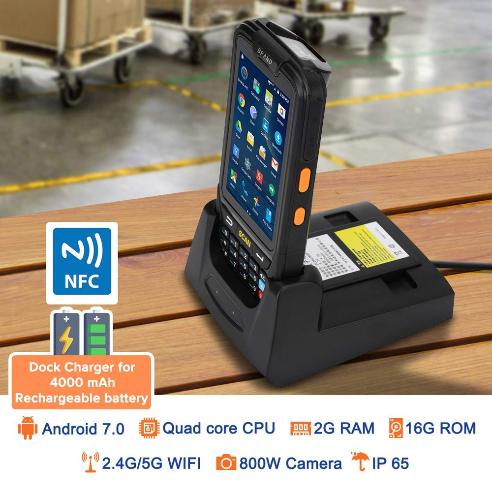 Image 2 - ISSYZONEPOS 4G Handheld PDA Android 7.0 POS Terminal Touch Screen 2D Barcode Scanner Wireless Wifi Bluetooth GPS Barcode Reader-in Scanners from Computer & Office