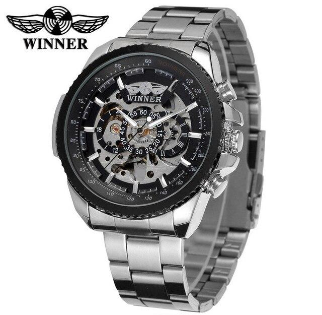 Baru Pemenang merek Top Mewah Menonton Olahraga pria Automatic Skeleton  Mechanical watches Militer montre mode kasual 5e9a545fd2