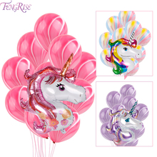 FENGRISE 11Pcs Χρώματα Unicorn Foil Balloons Γιορτές γενεθλίων Latex Μωβ μπαλόνι για Helium Air Ball Γάμος Party Διακόσμηση