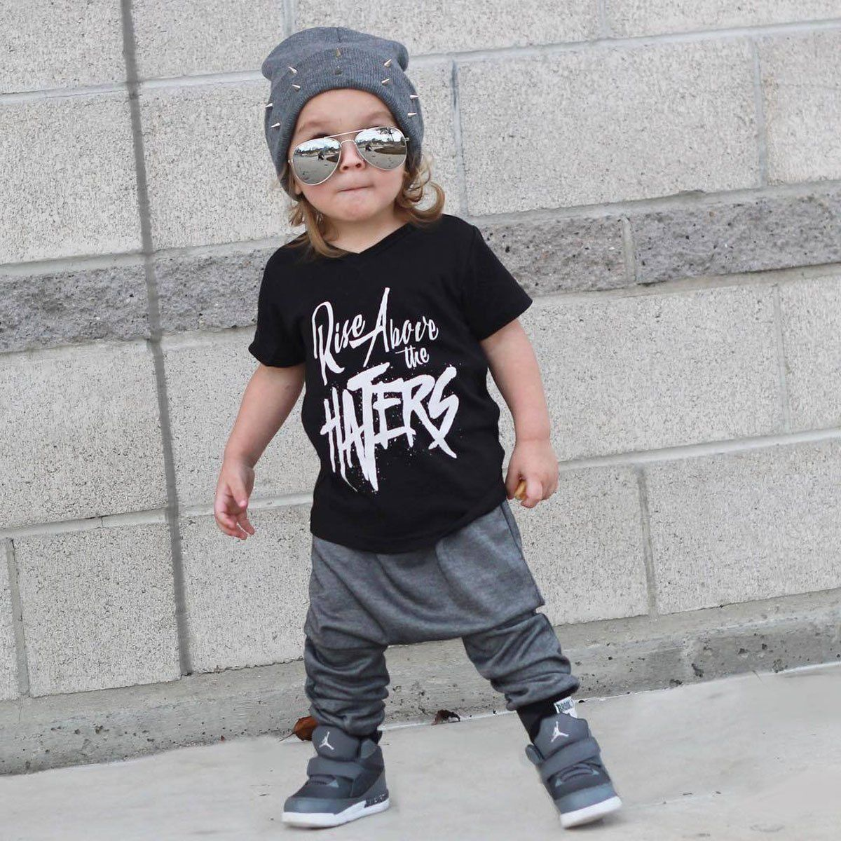 2PCS Toddler Kids Baby Boys Letter Short Sleeve T Shirt Harem Pants Casual Baby Hip Hop Outfits Clothes Suit Set 1T~6T