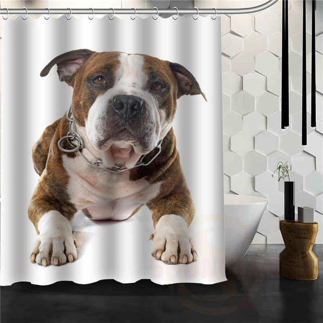 Best Nice Custom Bulldog Puppy Shower Curtain Bath Waterproof Fabric For Bathroom MORE SIZE WJY5