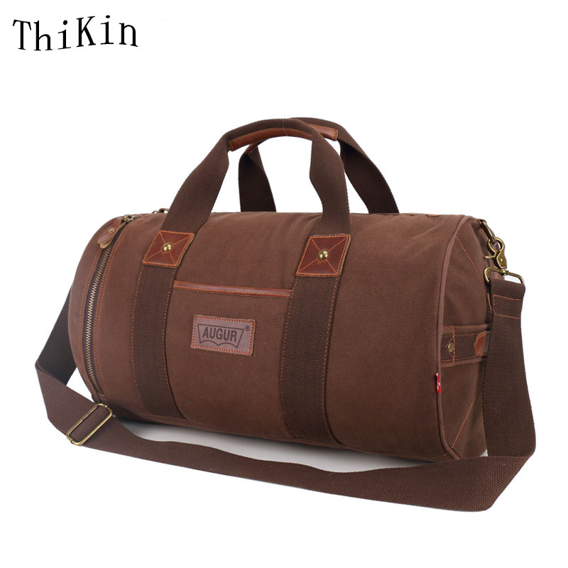 Augur Big Canvas Travel Bag Male Large Capacity Luggage Bags Large Thicken Canvas Tote Cylindrical Shoulder Bags 3 Colors lapoe large capacity canvas travel bags casual men hand luggage travel duffle bag big tote 5colors male crossbody bag waterproof