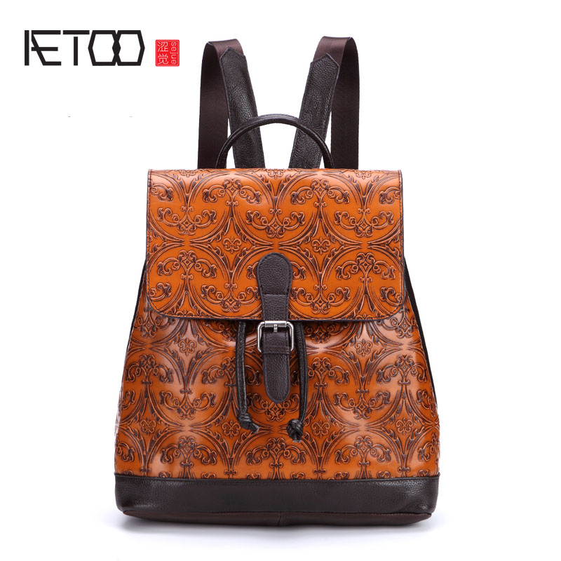 AETOO New leather women backpack cowhide retro shoulder bag fashion travel backpack lady bag Embossed bag aetoo retro leatherbackpack bag male backpack fashion trend new leather travel bag