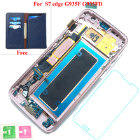 Smartphone LCD Display Touch Screen Digitizer Assembly Replacement Parts+Bezel Frame For Samsung Galaxy S7 Edge SM G935F G935FD