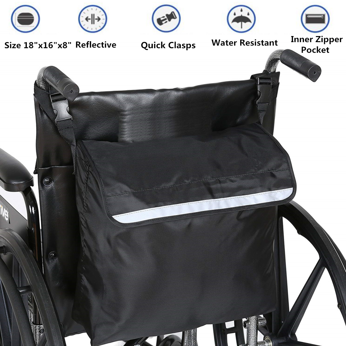 Wheelchair Bag Shopping Mobility Storage Holdall Handle Bags Scooter Walker Frame Storage Handbags  Black