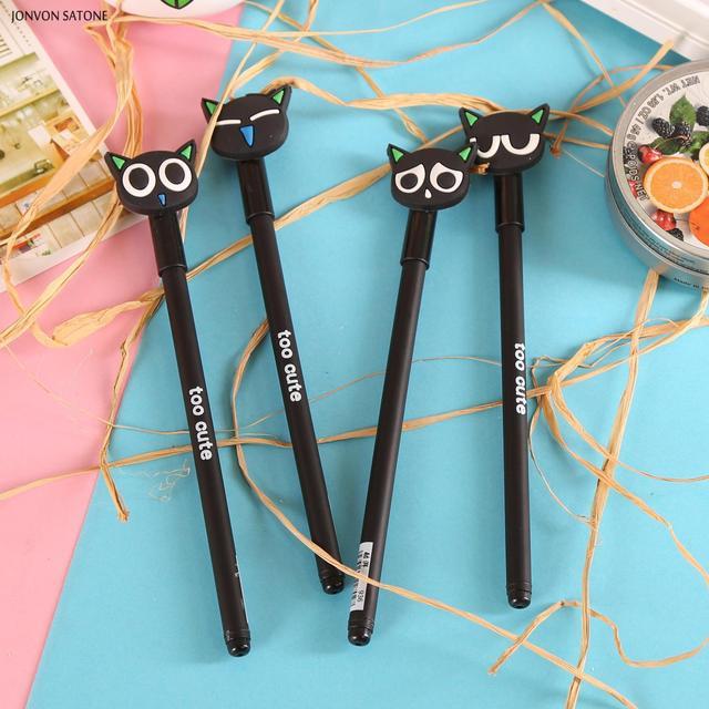 Jonvon satone 40 pçs por atacado dos desenhos animados gato preto caneta neutra 0.38mm preto gel de carbono canetas caneta fonte escritório suprimentos criativos