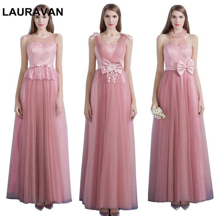 blush pale pink robe de soiree elegant dusty rose lace-up brides maids tulle v neck   dress     bridesmaid     dresses   ball gown