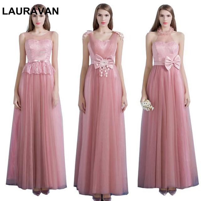 a2b702679e0 blush pale pink robe de soiree elegant dusty rose lace-up brides maids  tulle v neck dress bridesmaid dresses free shipping