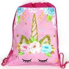 12 piezas 34*27 cm unicornio tema no tejido bolsas con cordón mochila, bolsa de regalo de cumpleaños para niños