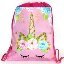 12pcs 34*27cm Unicorn theme non-woven fabrics drawstring bags backpack,boy kids Gift bag Birthday Party Favor