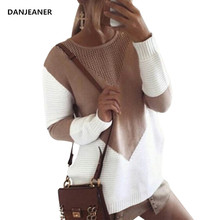Danjeaner Womens Knitwear Jumper Spring Autumn Round Neck Long Split Sweaters Casual Loose Sleeve Knitting Pullovers Tops