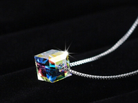 2015 New Arrival High Quality Fashion Colorful Square Design 925 Sterling Silver Ladies Necklaces Short Chain