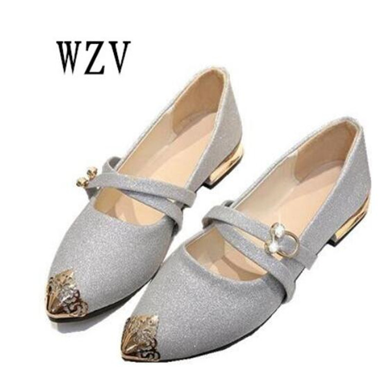 2018 New Women Flats Fashion sequins Metal pointed Toe Flats Ballerina Ballet Flat Slip On women Shoes B140 odetina 2017 new designer lace up ballerina flats fashion women spring pointed toe shoes ladies cross straps soft flats non slip