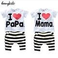 Conjunto de roupas crianças t-shirt + calças do bebê das meninas do menino verão 2 pcs set AMOR PAPA MAMA BeBe Terno conjuntos de pijama 592C
