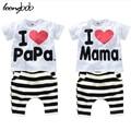 Niños que arropan el sistema t-shirt + pants del bebé muchacho del verano 2 unids set AMOR PAPA MAMA Traje de BeBe pijama 592C