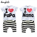 children clothing set t-shirt+pants baby boy girls summer 2 pcs set LOVE PAPA MAMA BeBe Suit  Pajama sets 592C