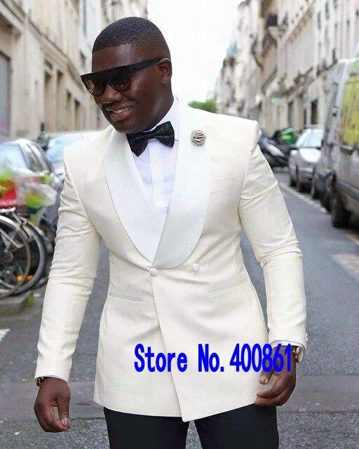 À la mode Double boutonnage ivoire marié Tuxedos châle revers hommes Blazers 2 pièces costumes (veste + pantalon + cravate) NO: 339