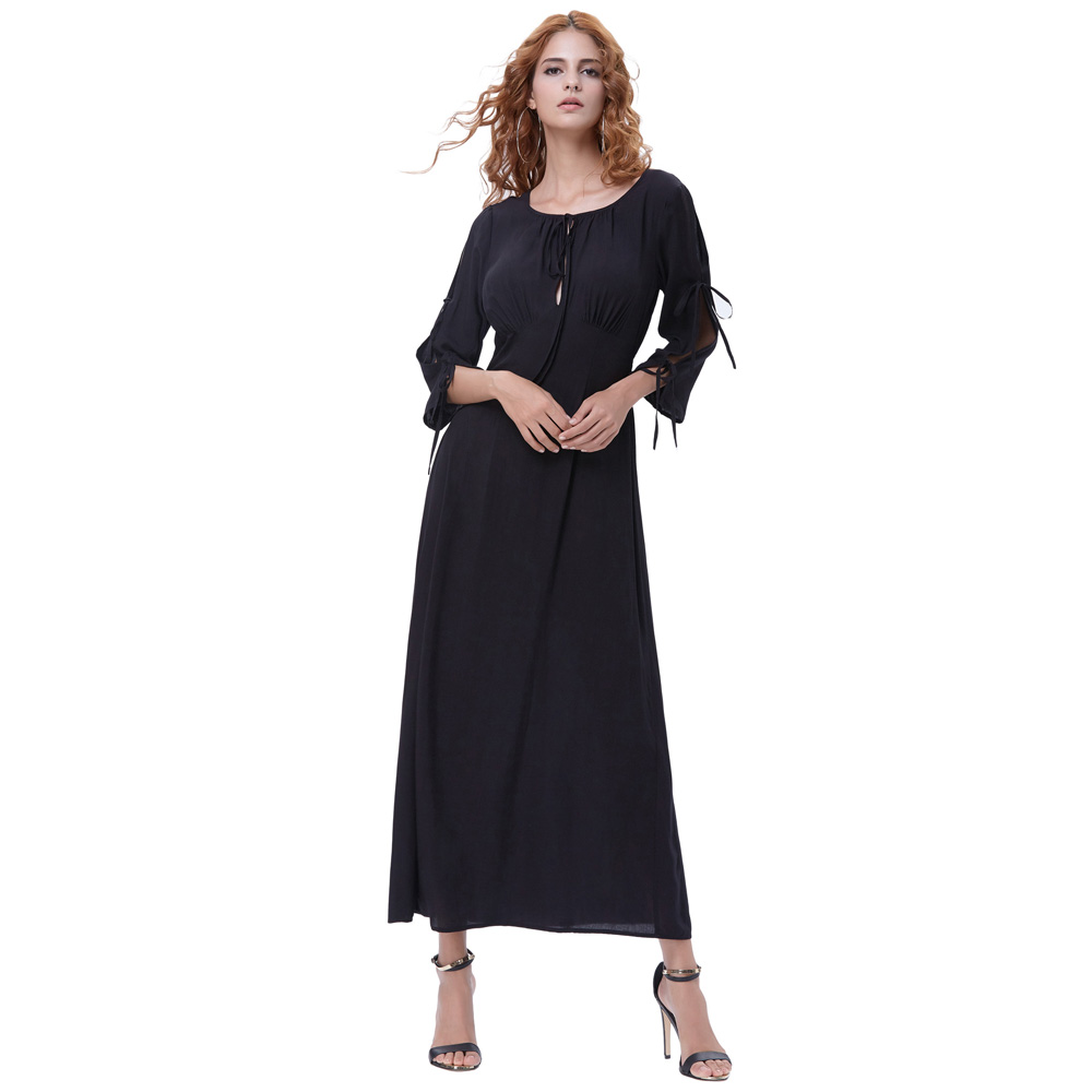 2304a838a22a Kate Kasin Women Summer Dress Retro Robe 50s Maxi Dress 3 4 Lace Up Sleeve  Vestido Longo Ruched Long Black Party Formal Dress-in Dresses from Women s  ...