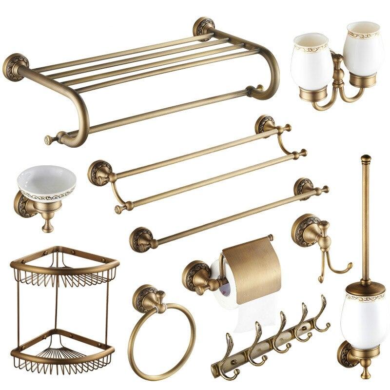 Европейские антикварные дворец серии Аксессуары для ванной набор 11 товаров для полного Ванная комната декорации твердая латунь Ванная комната комплект