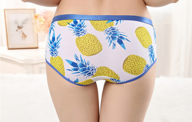 Fashionable printed Pineapple couple Underwear. Breathable Men Boxer and Women Panties