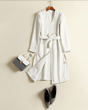 Hchenli Brand 2017 Women Beading Long Wool Coat White Fashion Wool Outerwear Belt Wool Coats Fashion Winter Long Sleeve Clothing