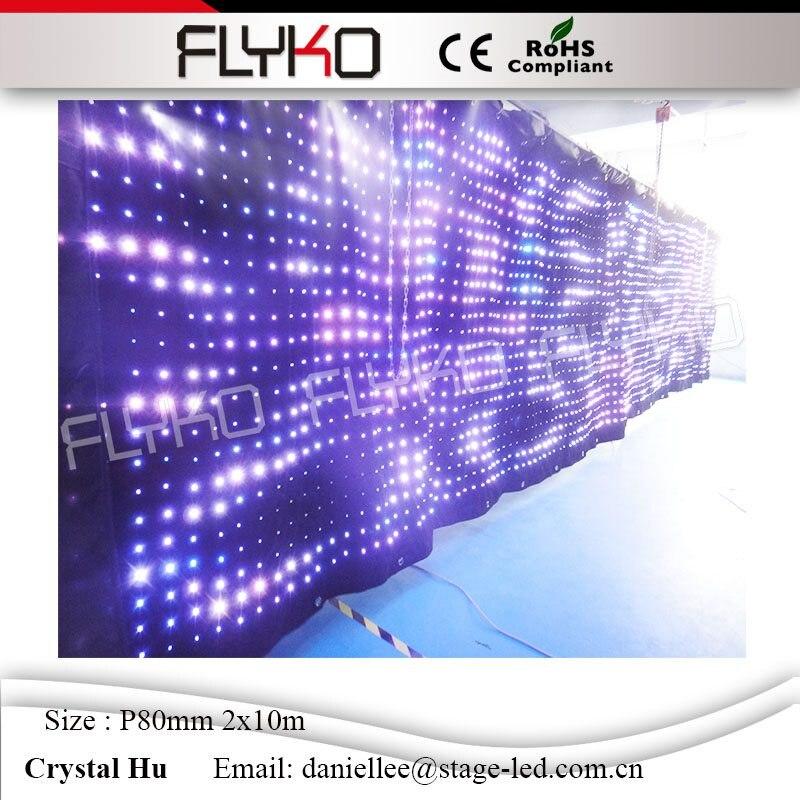 Tissu de LED de rideau visuel de lampe à LED RGB3in1 avec le contrôleur de DMX 2 m * 10 m P80mm