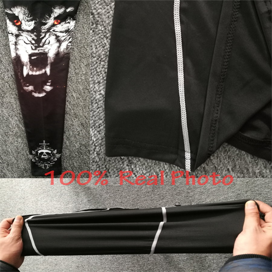 Wolf 3D Printed tshirt Compression Tights Men Fitness Running Shirt Breathable Long Sleeve Sport Rashgard Gym Cycling Clothing 4