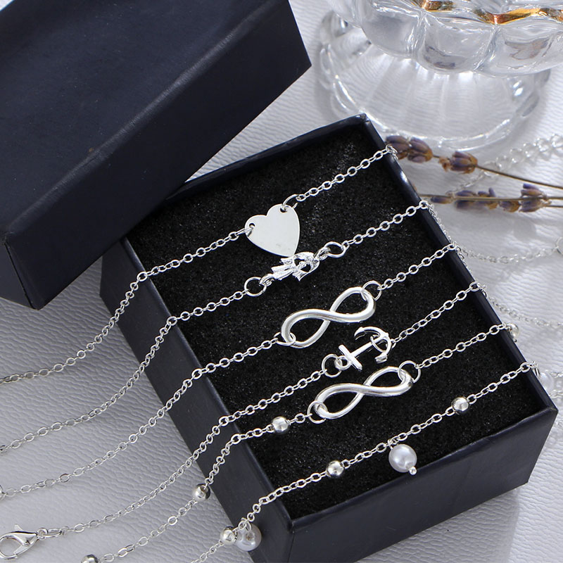 Women Fashion Anklets Bracelet Lady Foot Decorations Heart Anchor Alloy Vintage Ankle Anklets for Women Foot Jewelry