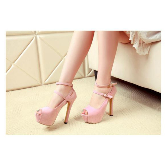Women Pumps Flock Shoes New Sexy Peep Toe Thin Heels Suede Platform Pumps Ankle Strap Wedding Party Shoes Pumps For Women