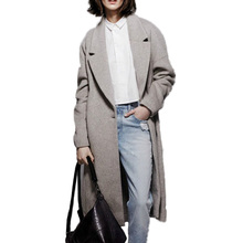 Buenos Ninos 2016 Solid Grey Long Sleeve Turn-down Neck Autumn Woolen Coat for Women One Button Sashes X-Long Outwears 10