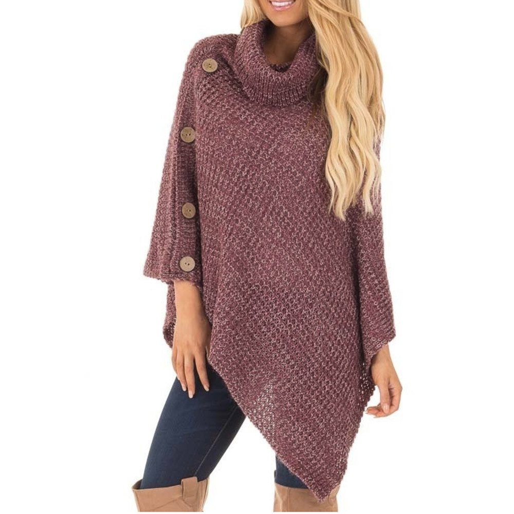 Fashion Women's Warm Sweater Solid Knit Turtle Neck Poncho with Button Irregular Hem Pullover Sweaters Casual Pull Femme Hiver