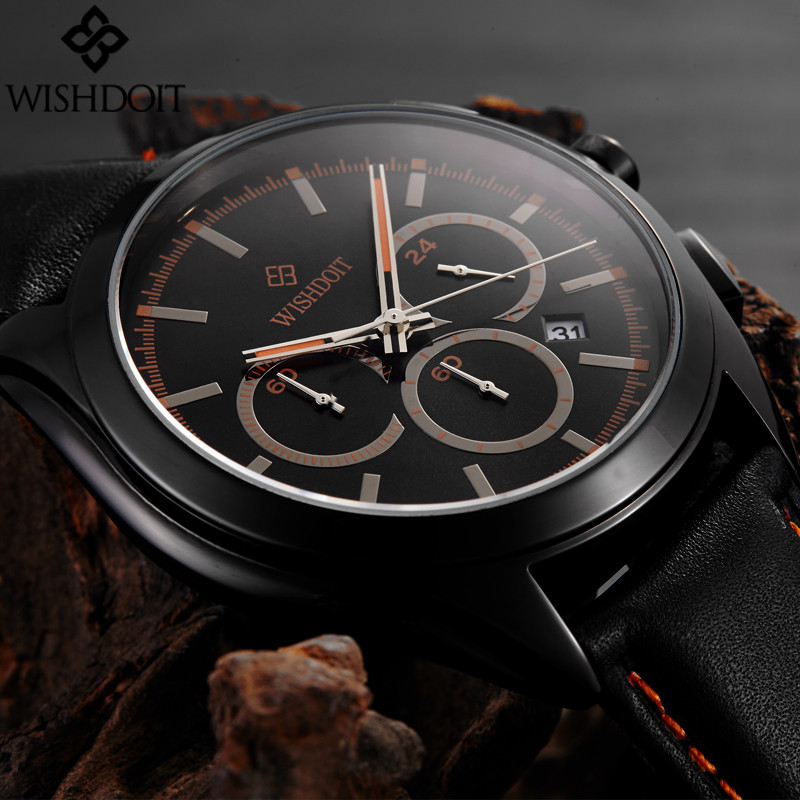 Top Luxury Mens Watches Men Military Sport Quartz Watch Leather Casual Clock Male waterproof Chronograph watch relogio masculino megir sport mens watches top brand luxury male leather waterproof chronograph quartz military wrist watch men clock saat 2017