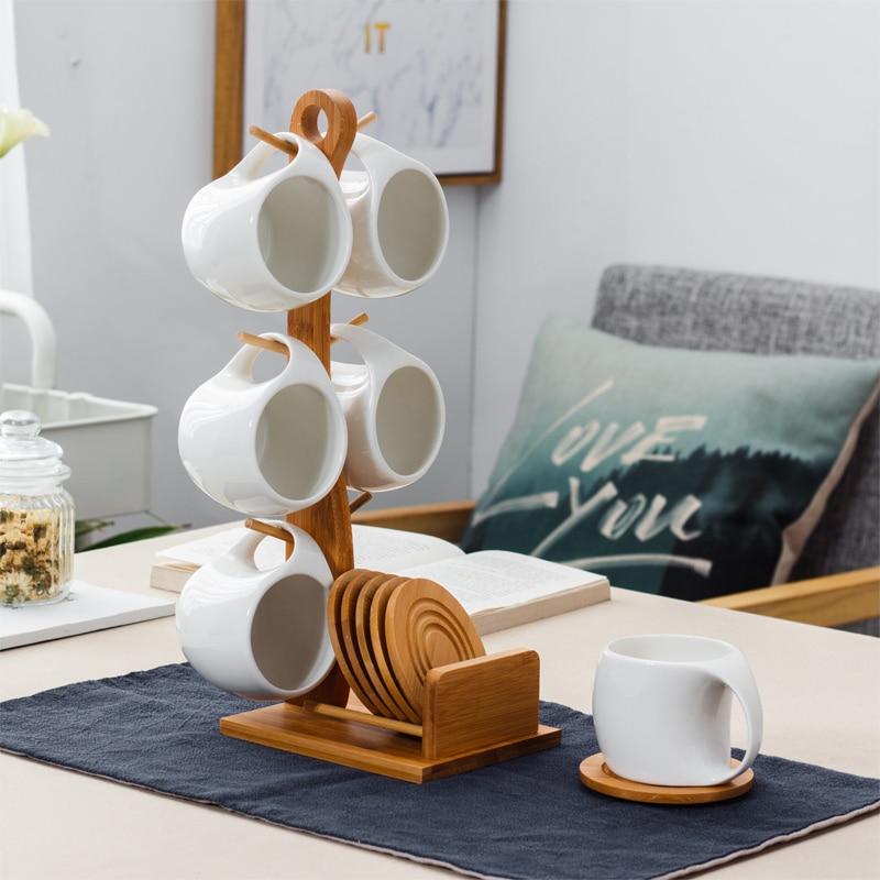 Tasse à café en céramique et soucoupe ensemble fleur tasse à thé tasse de ménage créative avec 6 ensembles d'étagères avec des tasses suspendues
