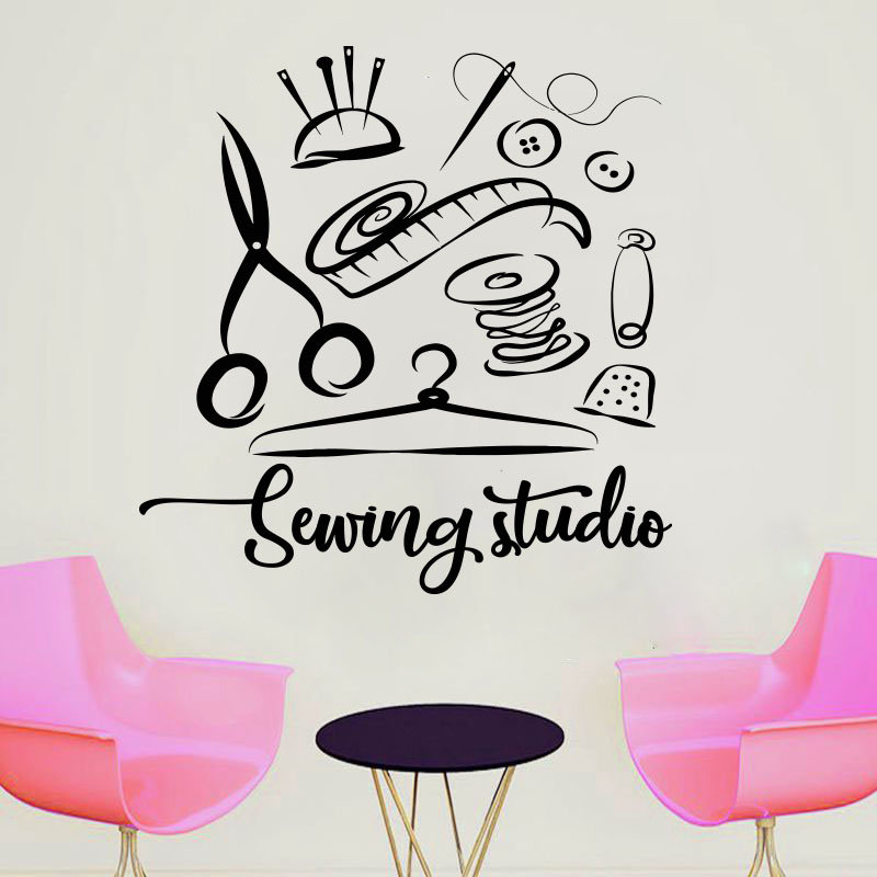 Sewing Studio Wall Sticker Atelier Home Decor Vinyl Wall Decals Handmade Tailor Window Decoration Self-adhesive film Mural 3R13