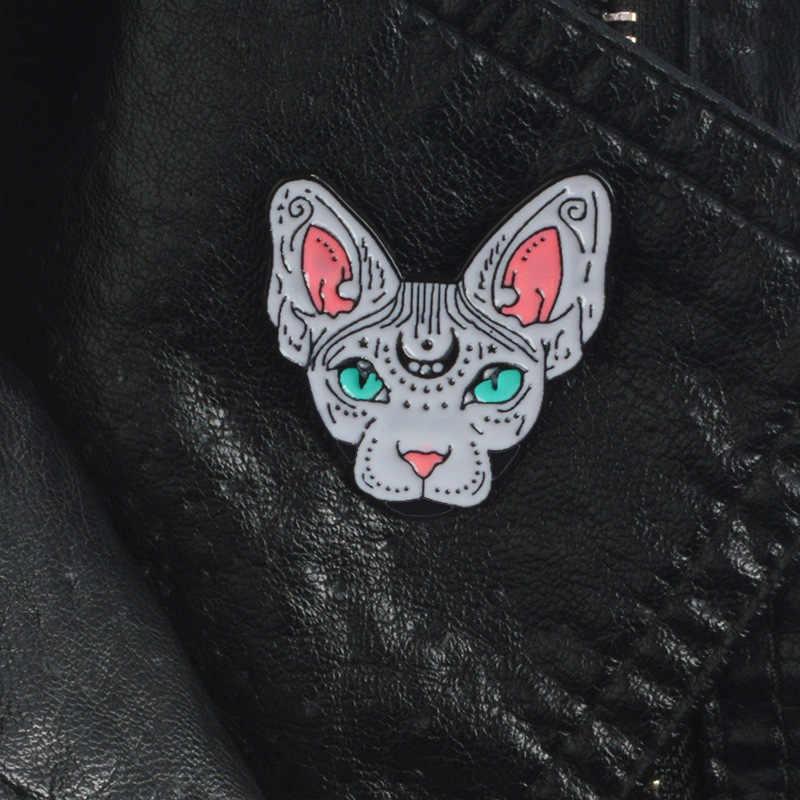 Hadiah Penjualan untuk Teman-teman Terbaik Chic Unisex Bulan Bintang Lucu Bobcat Bros Minyak Menetes Jari Tengah Korsase Kerah Perhiasan Bros